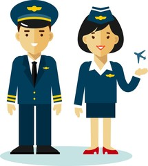 Pilot and stewardess in flat style
