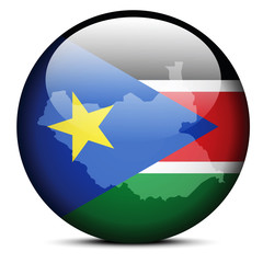 Map on flag button of Republic South Sudan
