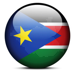 Map with Dot Pattern on flag button of Republic South Sudan