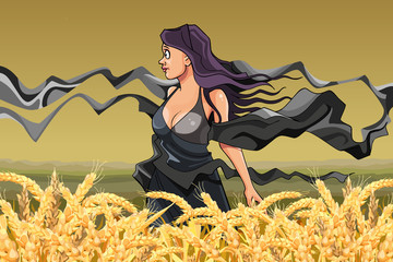 girl with fluttering scarves in the field with ripe wheat
