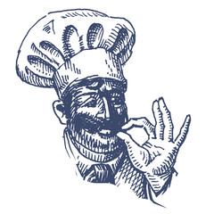 chef on white background. sketch