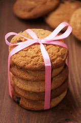 Oatmeal cookies with pink ribbon