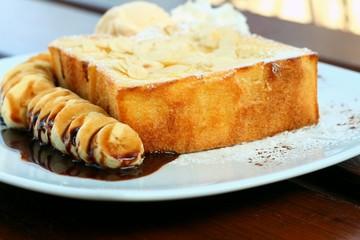 Honey toast on white dish at cake shop