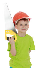 little boy in the construction helmet