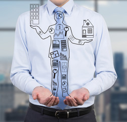 businessman holding drawing man