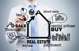 businessman drawing real estate