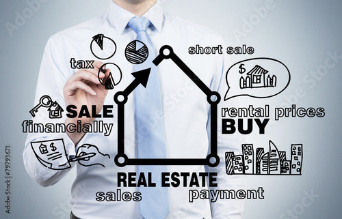 businessman drawing real estate - 79793671