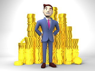 Smile Businessman With Coins On White