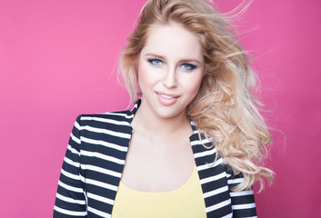 Young attractive happy blonde woman