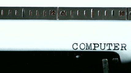 Typewriter. Typing text: computer