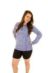 Young model wearing blue exercise top confident attitude