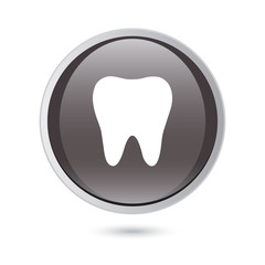 tooth icon on  black glossy button