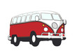 roter vw bus hippie - 79796604