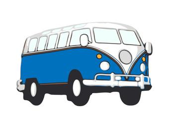blauer vw bus hippie
