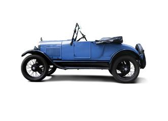 Blue convertible antique hot rod automobile
