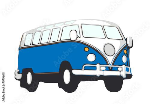 blauer vw bus hippie - 79796611