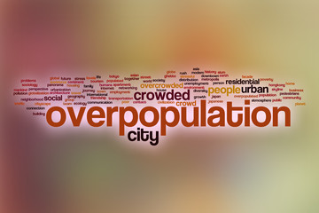 Overpopulation word cloud with abstract background