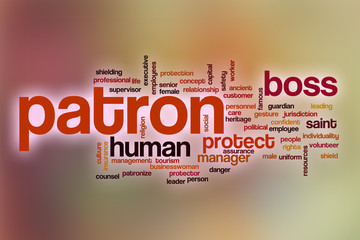 Patron word cloud with abstract background
