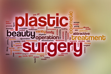 Plastic surgery word cloud with abstract background
