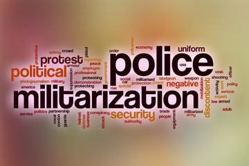 Police militarization word cloud with abstract background