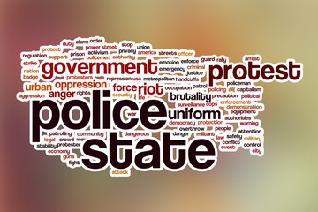 Police state word cloud with abstract background