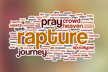 Rapture word cloud with abstract background