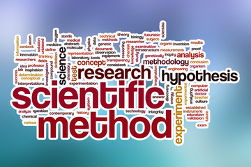 Scientific method word cloud with abstract background