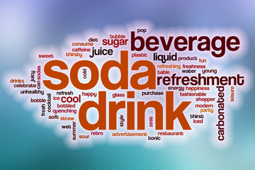 Soda drink word cloud with abstract background