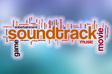 Soundtrack word cloud with abstract background