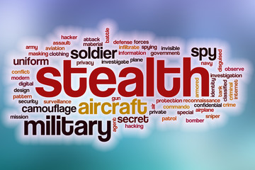 Stealth word cloud with abstract background