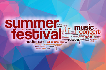 Summer festival word cloud with abstract background