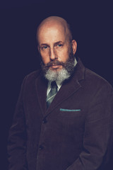 Close up Adult Bald Hairy Man in Formal Wear