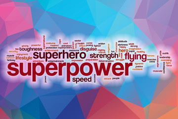 Superpower word cloud with abstract background