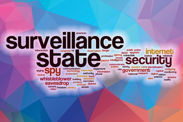 Surveillance state word cloud with abstract background