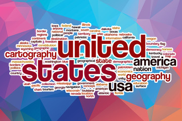 United States word cloud with abstract background