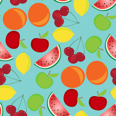 Fruit seamless pattern on a light blue background