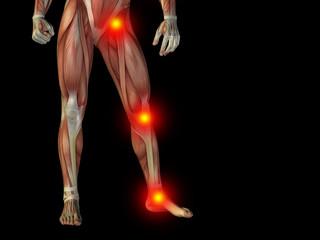Conceptual human body anatomy pain on black