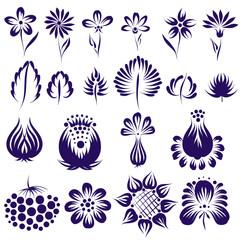 Vector ethnic flower set. Ukrainian traditional style.