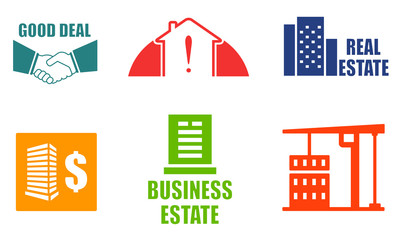 set colorful real estate icons