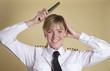 Attractive airline pilot combing her hair - 79798612