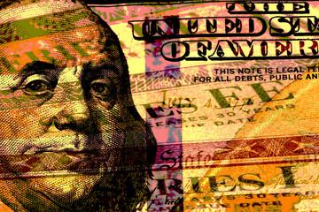 Double exposure hundred dollar bill and US treasury savings bond