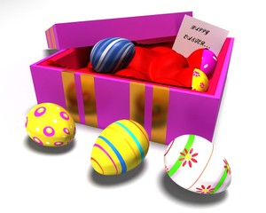 Gift box and Easter Eggs