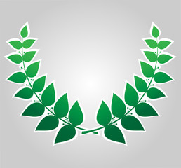 Green laurel wreath isolated, vector