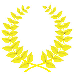 Gold laurel wreath isolated, vector