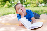 Boy thinking on the book with humour poster