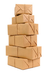 Tall stack of brown paper packages