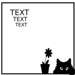 Katzengesicht und Blume Silhouette im Rahmen Beispieltext