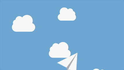 Paper airplanes flying over a sky with clouds, Video animation,