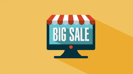 Big sale advertisement on pc screen, Video animation, HD 1080