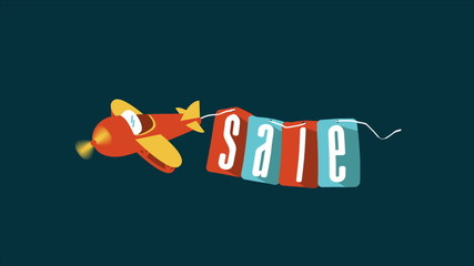 Toy plane carrying a sale advertisement, Video animation, HD 108